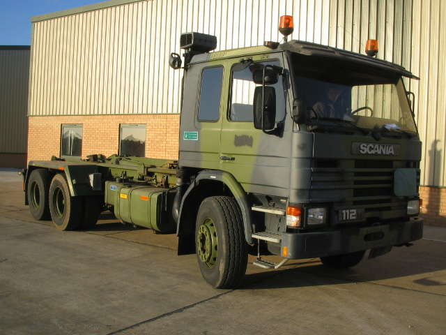 Scania 112H 6x2 drops hook loader - ex military vehicles for sale, mod surplus