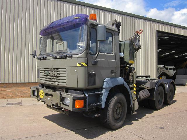 Man 33.414 Tractor Unit with Fassi F210 5 section hydraulic crane - ex military vehicles for sale, mod surplus