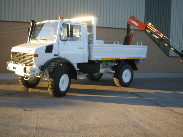 Mercedes Unimog U1300L crane truck - ex military vehicles for sale, mod surplus