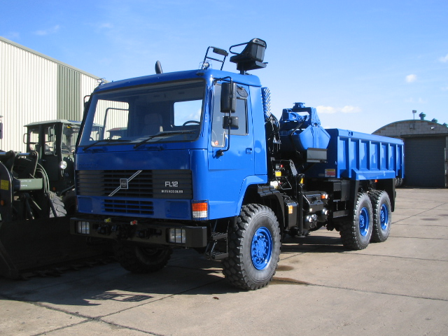 military vehicles for sale - Volvo FL12 6x6 Tipper with clam shell grab